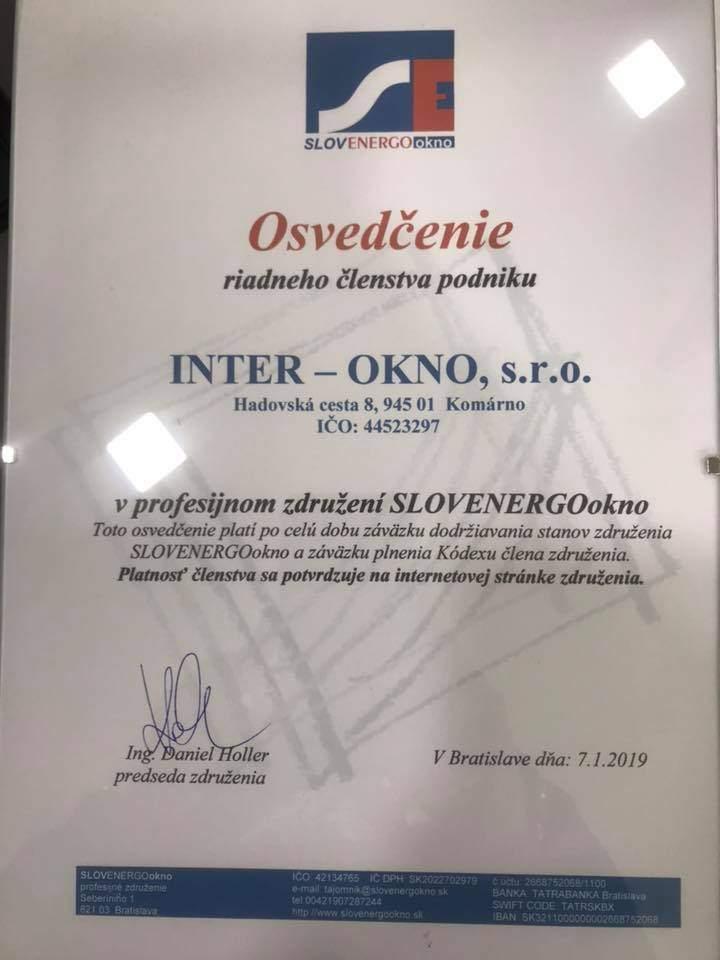 Inter-okno s.r.o. je členom združenia slovenských výrobcov a dodávateľov