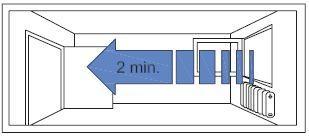 Keresztirányú szellőztetés max. 2 percre