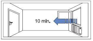 Szellőztetés 10 percre, legalább napi 2 - 4 alkalommal
