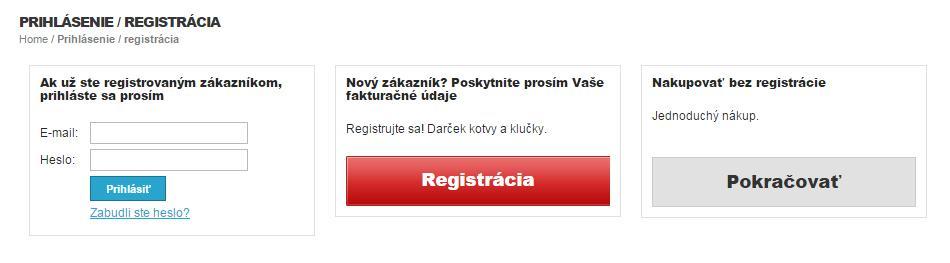 Prihlásenie - Registrácia
