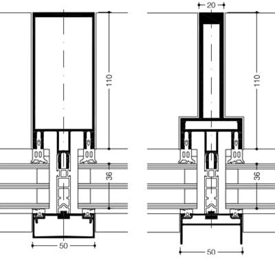 Technický rez hliníkovej fasády WICTEC 50