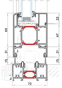 Podrobný nákres hliníkových skladacích dverí Harmonia