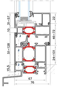Podrobný nákres profilu hliníkových okien Hercules
