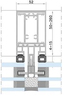 Podrobný nákres fasádneho systému Kratos SGG HI