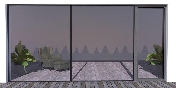 Bezrámové hliníkové okná WICLINE 75 so skrytým krídlom + štrukturálny spoj skiel
