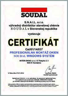 Certifikát profesionálnej montáži okien