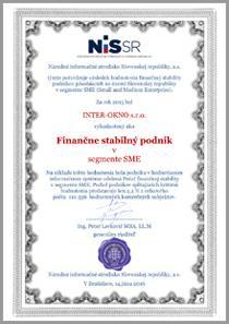 Pečať finančnej stability - INTER-OKNO s.r.o. - Finančne stabilný podnik