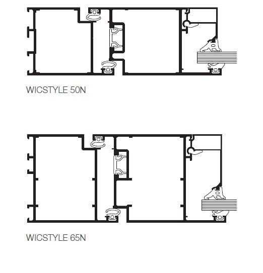 Hliníkové interiérové vchodové dvere WICONA WICSTYLE 50N/65N
