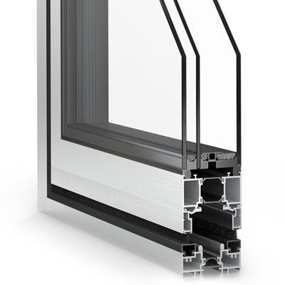 Hliníkové skladacie dvere WICSLIDE 75FD s dizajnovým lepeným sklom