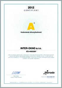 Certifikát dôveryhodnosti INTER-OKNO s.r.o.