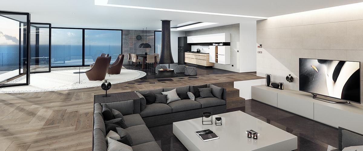 Sklá majú v modernej architektúre dôležitú funkciu aj v interiéri.