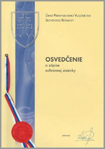 Osvedčenie o zápise ochrannej známky INTER-OKNO s.r.o.