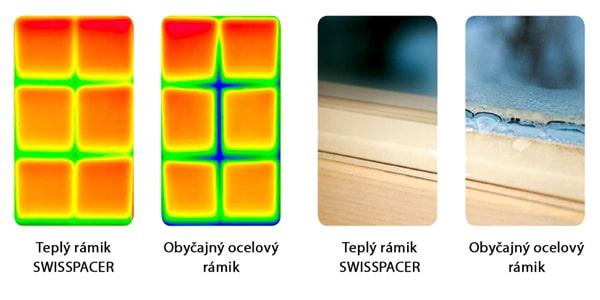 Sklo s teplým rámikom Swisspacer vs. sklo s obyčajným rámikom