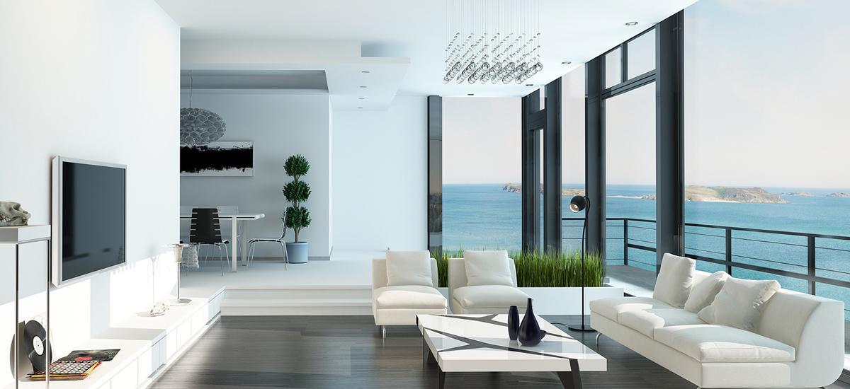 Priestranná obývačka s celopresklenou stenou.