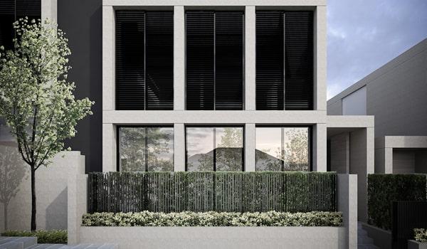 Extramoderný rodinný dom s hliníkovými vonkajšími horizontálnymi žalúziami (2)