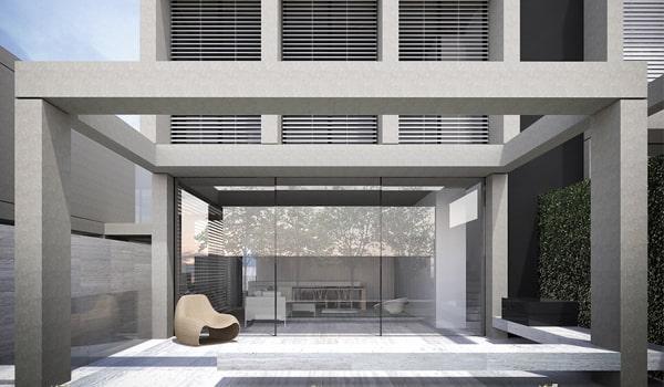 Extramoderný rodinný dom s hliníkovými vonkajšími horizontálnymi žalúziami (1)
